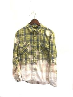 Yellow Plaid Shirt in Distressed/Acid Wash Flannel