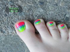 Neon Flame Toes by Drafeara - Nail Art Gallery nailartgallery.nailsmag.com by Nails Magazine www.nailsmag.com #nailart