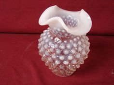 Fenton Art Glass Moonstone french Opalescent white Hobnail Ruffled glass Vase