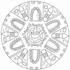 Mandala Coloring, Colouring Pages, Adult Coloring Pages, Coloring Books, Mandalas Painting, Mandalas Drawing, Chateau Fort Moyen Age, Mandalas For Kids, St Georges Day