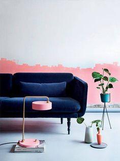 34 Ideas to Paint a Color Block Wall   Domino Dark Interiors, Colorful Interiors, Decor Interior Design, Home Design, Rosa Sofa, Modern Furniture, Furniture Design, Rustic Furniture, Outdoor Furniture