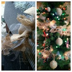 Burlap and tulle tied on twinkle lights to make garland Christmas Holidays, Christmas Wreaths, Christmas Decorations, Christmas Tree, Holiday Decorating, Christmas Ideas, Twinkle Lights, Twinkle Twinkle, Primitive Christmas Ornaments