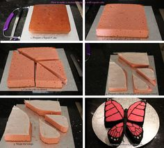 how to create a monarch butterfly with a square cake