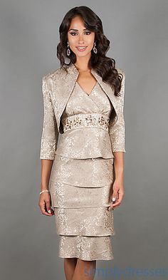 Knee Length V-Neck Tiered Dress with Matching Jacket at SimplyDresses.com MOTB