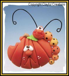 Becky's Polymer Clay - Pumpkin with Caterpillar MAGNET