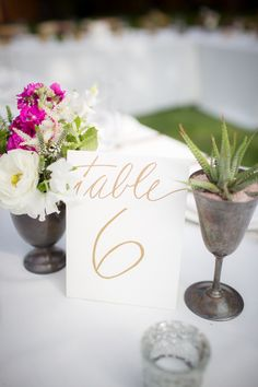gold table number - photo by Zoom Theory http://ruffledblog.com/intimate-backyard-wedding-in-malibu
