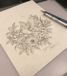 #bird#birdtattoo#flower#flowertattoo#drawing#sketch#roughsketch#tattoo_grain#새#새타투#탄생화#탄생화타투#가족탄생화타투#타투이스트그레인
