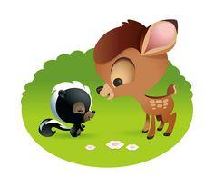 Bambi Illustration by Jerrod Maruyama - check out his kawaii portfolio. Disney Magic, Disney Pixar, Walt Disney, Disney Amor, Disney E Dreamworks, Disney Dream, Disney Cartoons, Disney Movies, Kawaii Disney
