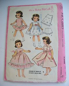 Vintage Betsy McCall Doll Clothes Pattern