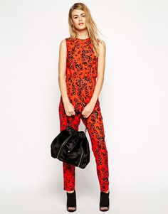 Shop ASOS Jumpsuit in Red Animal Print at ASOS. Asos, Red Jumpsuit, Overall, Jumpsuits, Shopping, Dresses, Fashion, Overalls, Vestidos