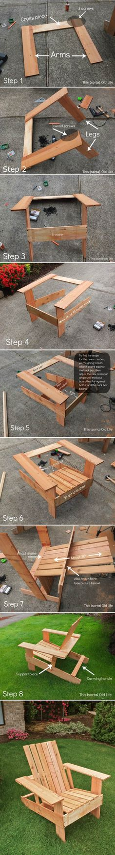 These Adirondack chair plans will help you build an outdoor furniture set that becomes the centerpiece of your backyard. It's a good thing that so many plastic patio chairs are designed to stack, and the aluminum ones fold up flat. Pallet Crafts, Pallet Projects, Wood Crafts, Woodworking Projects, Diy And Crafts, Diy Pallet, Woodworking Furniture, Pallet Furniture, Furniture Projects