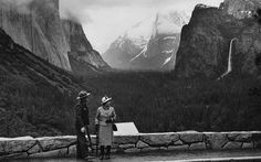 1982 - California. Queen Elizabeth poses at a Yosemite Valley, California, scenic overlook during her 1982 tour of the West Coast.