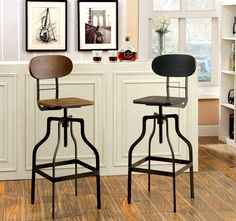 Add edgy appeal to your bar or kitchen area with this industrial inspired swivel bar stool. The unique reclaimed wood appearance is available in two neutral colors to complement the sturdy metal framework. The bar stool offers 360-degree swivel ability while supported upon the unique leg structure.