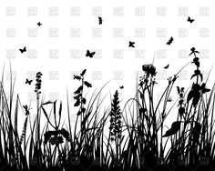 Grass, flowers and butterflies silhouettes, 84471, Silhouettes, Outlines,  Download, Royalty free, Vector, eps, clipart, jpg, images, clip art, graphics