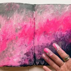 Got my hands all painty making this great background from @tanyaleekahler's Messy Pages class. I've only just begun the lessons & it's already sooo good!! #messypages #getmessyartjournal