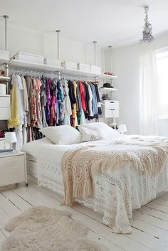 Good idea for a tight space with no dedicated closet space!