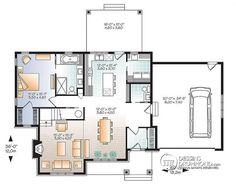 Plan de Rez-de-chaussée Maison champêtre rustique, grand espace boni à l'étage, îlot central, buanderie / garde-manger - Gailon 4