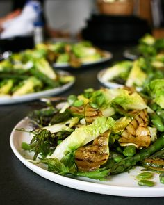 Awesome salad with broad beans, asparagus and grilled courgettes. Lunch at Riverford Field Kitchen