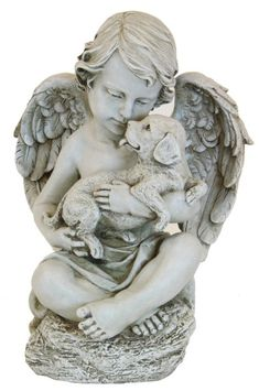 Angel Cherub With Puppy Garden Statue: At 12 Inches Tall, This Statue Is  Sized