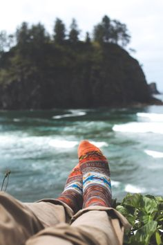 Cozy socks and captivating scenery.