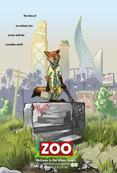"""I'm going home - by amtrack88  """"Zoo"""" (1992) - """"Nick Wilde: an honest predator, a working man, a patient fox… a fox who's had enough. After abandoning his wheel booted car on the hottest day of the year, Nick takes to the streets on foot, traversing the urban nightmare of Zootopia to make his way home - scorching a violent path of destruction against anything that stands in his way.""""  #zootopia   #nick   #wilde   #falling   #down"""