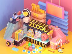 zcool anniversary designed by MK. Connect with them on Dribbble; the global community for designers and creative professionals. Animation Software Free, Animation Maker, Animated Unicorn, Isometric Grid, 3d Cinema, Memphis Design, Low Poly 3d, Communication Art, 3d Artwork