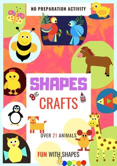 Homeschooling can be so fun and so easier with these 21 Animals, Birds & Insects DIY Craft for kids of all ages & to use mathematical basic colorful 2D geometrical shapes using paper cutouts for little kids while building their own Animals. Ready to go Printables. No preparation required. Right form toddlers to grade 5, all kids enjoy making these animals.    #shapes #crafts #paper #farm #diy #kids #animals #wild #bugs #birds #duck #pig #parrot #cow #monkey #mouse #caterpillar Fun Activities For Toddlers, Kindergarten Math Activities, Preschool Lessons, Homeschool Math, Homeschooling, Easy Arts And Crafts, Easy Crafts For Kids, Toddler Crafts, Puzzle Crafts