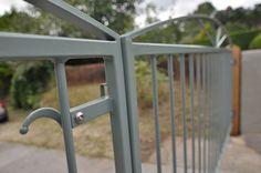 Custom RAL painted entrance gates. Metal Gates, Metal Railings, Wrought Iron Gates, Ral Paint, Side Gates, Driveway Gate, Entrance Gates, Gate Design, Garden Gates