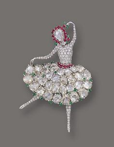 DIAMOND, RUBY AND EMERALD BALLERINA BROOCH, V AN CLEEF & ARPELS, NEW YORK, 1943 Sotheby's
