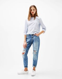 Poplin blouse with 3/4 sleeves and bow - Shirts - Bershka Thailand