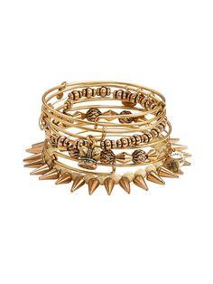 Set of 7 Kings Crown Charm & Spike Bangle Bracelets by Alex & Ani on Gilt.com