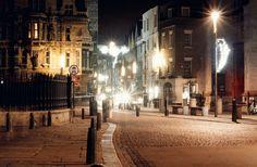 Cambridge city centre at night..