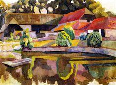 Barns and Pond, Charleston / Roger Fry - 1918
