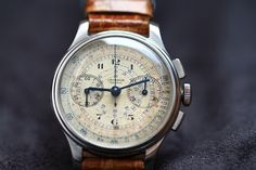 Vintage Universal Geneve Compur Chronograph In Stainless Steel On Crocodile Strap Universal Geneve Swiss Watchmakers watches Swiss Luxury Watches, Modern Watches, Vintage Watches, Cool Watches, Watches For Men, Watch Companies, Audemars Piguet, Crocodile, Chronograph