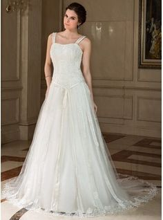 Wedding Dresses - $244.99 - A-Line/Princess Sweetheart Chapel Train Satin Tulle Wedding Dress With Lace Beading Sequins Bow(s)  http://www.dressfirst.com/A-Line-Princess-Sweetheart-Chapel-Train-Satin-Tulle-Wedding-Dress-With-Lace-Beading-Sequins-Bow-S-002000425-g425