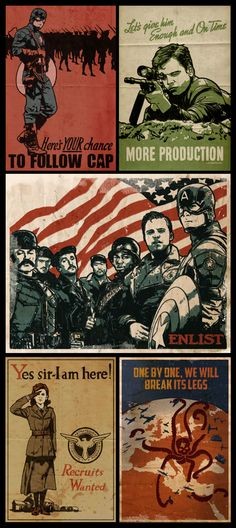 """Captain America Propaganda Poster Collection"" by Paperflower86 on deviantART.com."