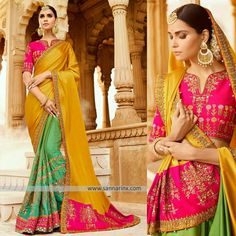Be the fashion icon as you flaunt this Green and Mustard Yellow Bridal Saree made from Satin Silk fabric is enhanced with heavy embroidery work all over contrast designer border. Comes with contrast Silk Pink embroidered blouse.