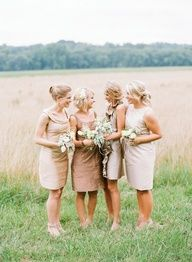 sweet bridesmaids in metallic | Melissa Schollaert #wedding #bridesmaids #metallic