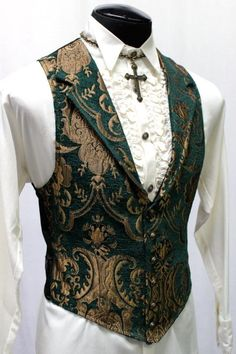 Shrine Clothing Victorian Gothic Vest in Green and Gold Tapestry Moda Steampunk, Costume Steampunk, Steampunk Jacket, Steampunk Clothing, Steampunk Fashion Men, Gothic Steampunk, Steampunk Necklace, Victorian Mens Fashion, Gothic Fashion Men