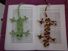 les lézards, marque page au crochet