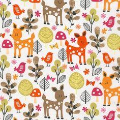 Tissu Acorn forest Biches coloris Sweet 20 x 110 cm  Robert Kaufman