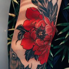 WEBSTA @yuuztattooer Detail. Red peony on elbow. Done at @the_ravens_ink