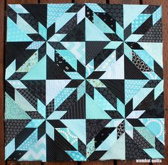 Hunter Star WIP from Wombat Quilts - Love this one, it just sparkles. The B&W prints instead of solid black make it more interesting and less harsh, too. Star Quilt Blocks, Star Quilt Patterns, Paper Piecing Patterns, Star Quilts, Scrappy Quilts, Pattern Paper, Stitch Patterns, Quilting Tutorials, Quilting Designs