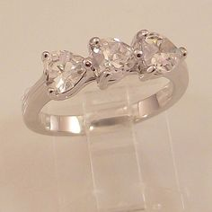 Ladies Russian Formula Sweetheart CZ Silver Finish Ring -Size 8-Free Gift Box