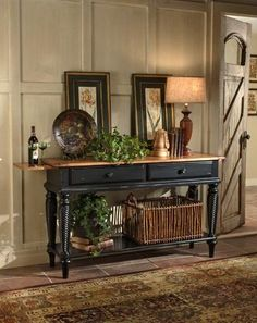 Vintage French Soul ~ Hillsdale Furniture Wilshire Sideboard Table in Rubbed Black Sideboard Table, Black Sideboard, Antique Sideboard, Sofa Table Decor, Sofa Tables, Buffet Tables, Hall Tables, Console Tables, Hall Table Decor