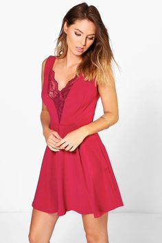Willa Lace Insert Plunge Skater Dress at boohoo.com