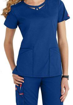 Dickies EDS Signature Peek-A-Boo neckline scrub top. Scrubs Uniform, Medical Uniforms, Womens Scrubs, Nursing Shoes, Medical Scrubs, Scrub Tops, Peek A Boos, Comfortable Fashion, V Neck