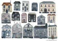 Cornish Houses Print par LiviGosling