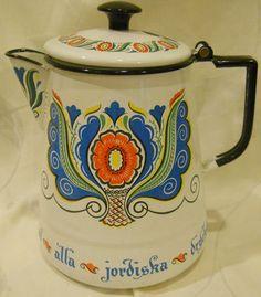 Berggren Rosmaling Vintage Enamelware Scandinavian Swedish Folk Art Coffee Pot