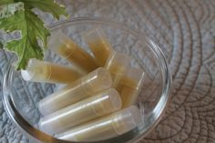 Lip balm  Makes 20 tubes approx  1/4 cup organic extra virgin coconut oil 1/4 cup shea butter 1/4 cup beeswax (pastilles, for easier melting) 20 drops of Lavender essential oil